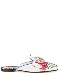 weiße verzierte Leder Pantoletten von Dolce & Gabbana