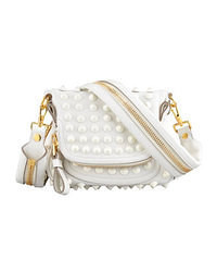 weiße verzierte Leder Umhängetasche