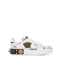 weiße verzierte niedrige Sneakers von Dolce & Gabbana