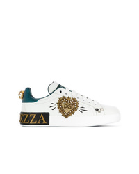 weiße verzierte Pailletten niedrige Sneakers von Dolce & Gabbana