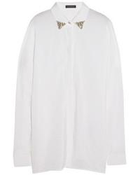weiße verzierte Seidebluse mit knöpfen von Versace