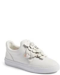 weiße verzierte Slip-On Sneakers