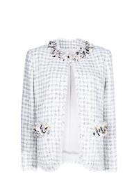 weiße verzierte Tweed-Jacke von MSGM