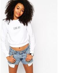 weißer bedruckter kurzer Pullover von Asos