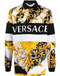 weißer bedruckter Polo Pullover von Versace