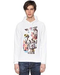 weißer bedruckter Pullover mit einem Kapuze
