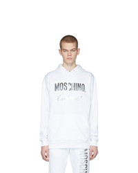 weißer bedruckter Pullover mit einem Kapuze von Moschino