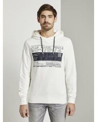 weißer bedruckter Pullover mit einem Kapuze von Tom Tailor
