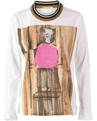 weißer bedruckter Pullover mit einem Rundhalsausschnitt