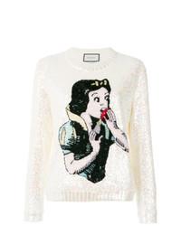 weißer bedruckter Pullover mit einem Rundhalsausschnitt von Gucci