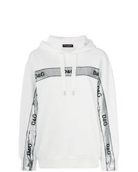 weißer bedruckter Pullover mit einer Kapuze von Dolce & Gabbana