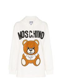 weißer bedruckter Pullover mit einer Kapuze von Moschino