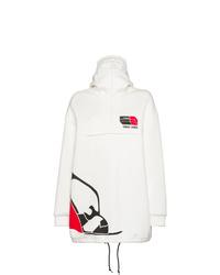 weißer bedruckter Pullover mit einer Kapuze von Prada