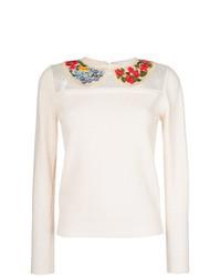 weißer bestickter Pullover mit einem Rundhalsausschnitt