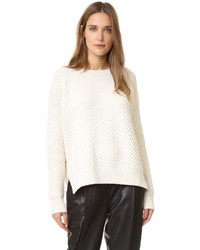 weißer flauschiger Pullover mit einem Rundhalsausschnitt von Vince