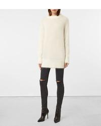 Weißer flauschiger Pullover mit Rundhalsausschnitt von AllSaints