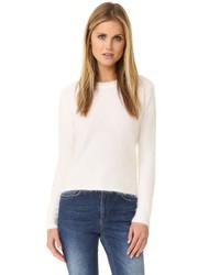 Weißer flauschiger Pullover mit Rundhalsausschnitt von Anine Bing
