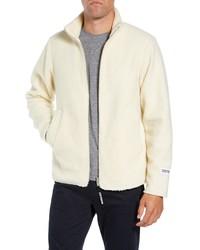 weißer Fleece-Pullover mit einem Reißverschluß