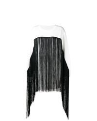 weißer Fransen Pullover mit einem Rundhalsausschnitt von MM6 MAISON MARGIELA