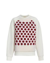 weißer gepunkteter Pullover mit einem Rundhalsausschnitt von Burberry