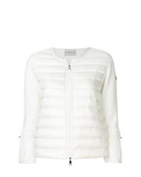 weißer gesteppter Pullover mit einem Reißverschluß von Moncler