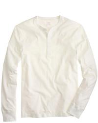 weißer Henley-Pullover