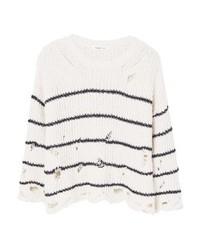 weißer horizontal gestreifter Pullover mit einem Rundhalsausschnitt von Mango