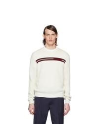 weißer horizontal gestreifter Pullover mit einem Rundhalsausschnitt von Moncler