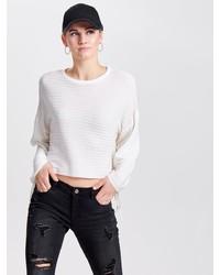 weißer horizontal gestreifter Pullover mit einem Rundhalsausschnitt von Only