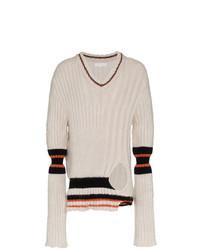 weißer horizontal gestreifter Pullover mit einem V-Ausschnitt von Helen Lawrence