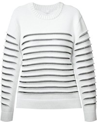 Weißer horizontal gestreifter Pullover mit Rundhalsausschnitt von Alexander Wang