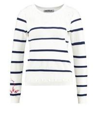 weißer horizontal gestreifter Pullover mit einem Rundhalsausschnitt von Desigual