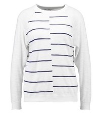 weißer horizontal gestreifter Pullover mit Rundhalsausschnitt von Filippa K