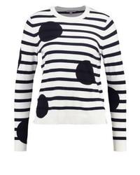 Weißer horizontal gestreifter Pullover mit Rundhalsausschnitt von LK Bennett