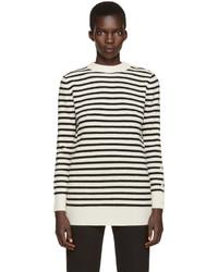 Weißer horizontal gestreifter Pullover mit Rundhalsausschnitt von MM6 MAISON MARGIELA