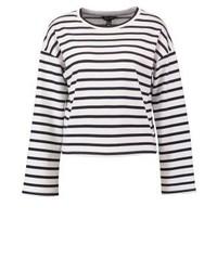 weißer horizontal gestreifter Pullover mit Rundhalsausschnitt von New Look