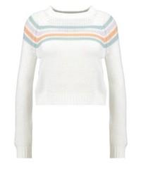 weißer horizontal gestreifter Pullover mit Rundhalsausschnitt von Noisy May