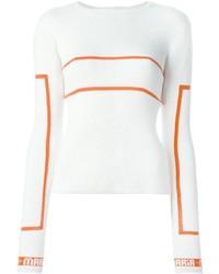 Weißer horizontal gestreifter Pullover mit Rundhalsausschnitt