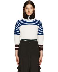 Weißer horizontal gestreifter Pullover mit Rundhalsausschnitt von Raf Simons