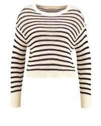 Weißer horizontal gestreifter Pullover mit Rundhalsausschnitt von Ralph Lauren