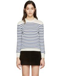 Weißer horizontal gestreifter Pullover mit Rundhalsausschnitt von Saint Laurent