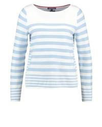 Weißer horizontal gestreifter Pullover mit Rundhalsausschnitt von Tommy Hilfiger