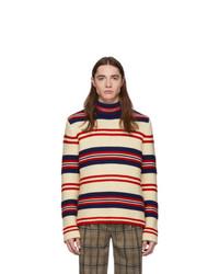 weißer horizontal gestreifter Wollrollkragenpullover von Gucci