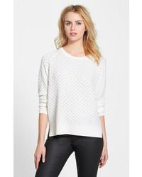 weißer Oversize Pullover mit Reliefmuster
