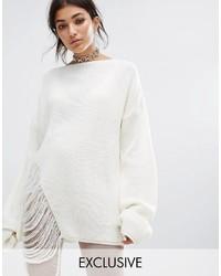 weißer Oversize Pullover