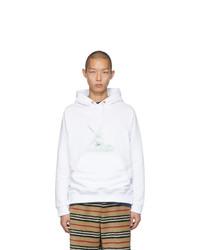 weißer Pullover mit einem Kapuze von Burberry