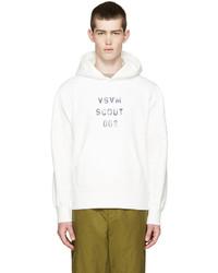 weißer Pullover mit einem Kapuze von VISVIM