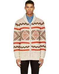 weißer Pullover mit einem Reißverschluß mit Fair Isle-Muster