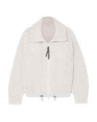 weißer Pullover mit einem Reißverschluß von Brunello Cucinelli