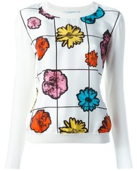 weißer Pullover mit einem Rundhalsausschnitt mit Blumenmuster
